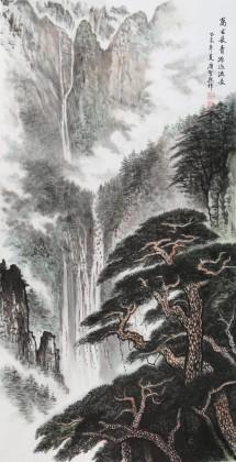 【已售】湖南省著名山水老画家唐圣熙 四尺《万古长青 源远流长》