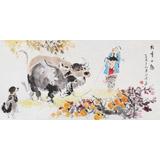 当代乡土童趣绘画名家尹和平 四尺《牧童小趣》