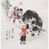 【已售】当代乡土童趣绘画名家尹和平 四尺斗方《夏韵》