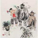 【已售】当代乡土童趣绘画名家尹和平 四尺斗方《美餐》