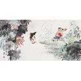 【已售】当代乡土童趣绘画名家尹和平 四尺《戏鱼图》