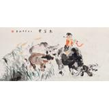 当代乡土童趣绘画名家尹和平 四尺《牧笛声》