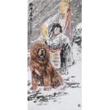 王贵邱四尺国画藏獒《风雪高原》