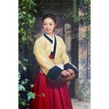 【已售】朝鲜名家油画 许福南《阿里郎的姑娘》