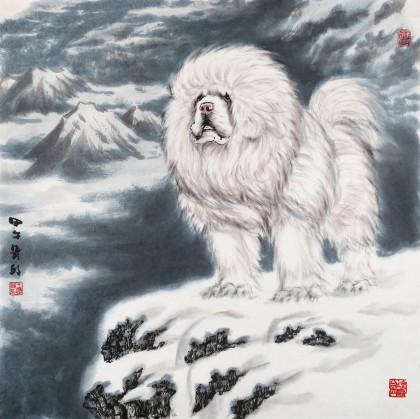 王贵邱精品四尺斗方国画藏獒《守望》 - 动物画 - 99
