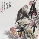 【已售】国画名家王向阳 四尺斗方《金猴献寿》(询价)