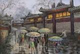 朝鲜名家油画 李贤哲《雨中的街道》