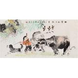 【已售】当代乡土童趣绘画名家尹和平 四尺《快乐的小牧童》