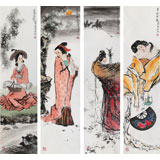 南海禅寺 妙林居士 四条屏《四美图》