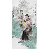 【已售】当代著名写意人物画家魏志平 四尺《蕉下风月》
