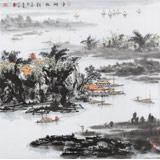 【已售】吉林美协会员杨秀亮 四尺斗方《平湖帆影》
