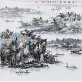 吉林美协会员杨秀亮 四尺斗方《平湖帆影》