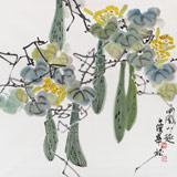 湖南省著名书画家罗华斌 四尺斗方《田园小趣》