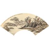 贵州七星关美协主席吴显刚 扇面《渔村图》