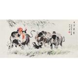 当代乡土童趣绘画名家尹和平 四尺《牛背童年》