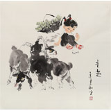 【已售】当代乡土童趣绘画名家尹和平 四尺斗方《童趣》
