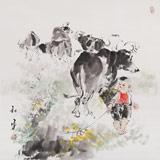 当代乡土童趣绘画名家尹和平 四尺斗方《童年欢乐》