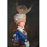 著名青年油画家朱艺林 布面油画 《苗族少女》