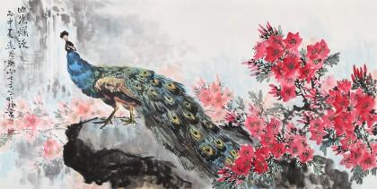 【已售】三峡大学艺术学院教授向士平 四尺《山花烂漫》