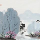 【已售】当代著名画家王寿 四尺斗方《烟雨江南》
