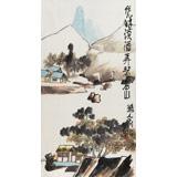 刘纪三尺国画山水《山居图》