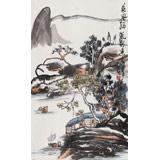 刘纪三尺国画山水《乘风扬帆到渔家》