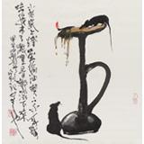 【已售】刘纪 三尺斗方国画《小老鼠上灯台》 河南著名老画家