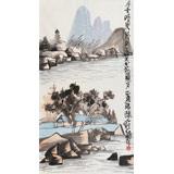 刘纪三尺国画山水《春花秋月一簾珠》
