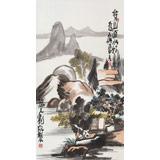 刘纪三尺国画山水《背山面水好为家》