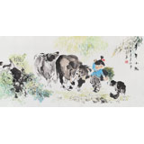 当代乡土童趣绘画名家尹和平 四尺《童年小趣》