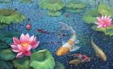 【已售】朝鲜名家油画 朴京林《荷塘》