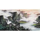 张慧仁六尺精品山水画《春山半是云》