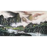 张慧仁六尺精品山水画《翠峰连云起》