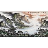 张慧仁六尺精品山水画《山高泽长》