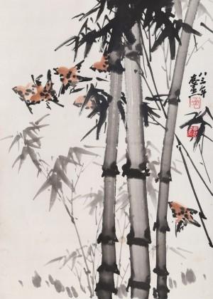 【已售】已故国画大家邹友蒸《竹报平安》 1983年作