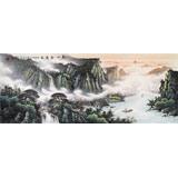 张慧仁小六尺精品山水画《春山观瀑图》