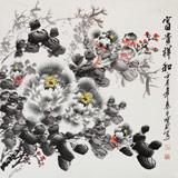 王宝钦 四尺斗方精品水墨牡丹图《富贵祥和》当代花鸟牡丹画名家(询价)