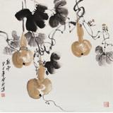 王宝钦 四尺斗方葫芦《秋实》当代花鸟牡丹画名家(询价)