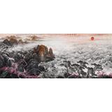 中国书画家协会理事李碧峰 大丈二山水画《观海听涛》