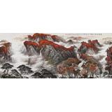 中国书画家协会理事李碧峰 大丈二山水画《秋晴泉气香》