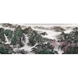 中国书画家协会理事李碧峰 大丈二山水画《高峡出平湖》