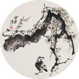王宝钦三尺团扇花鸟精品《寒香》(询价)