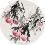 【已售】王宝钦 四尺扇形花鸟精品《多寿图》当代花鸟牡丹画名家(询价)