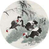 王宝钦四尺扇形花鸟精品《三思图》(询价)