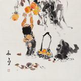当代乡土童趣绘画名家尹和平 四尺斗方《秋实》