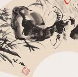 当代乡土童趣绘画名家尹和平 扇面《牧笛声声》