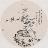 山东美协会员 曹宝峪扇面《野竹攒石生》