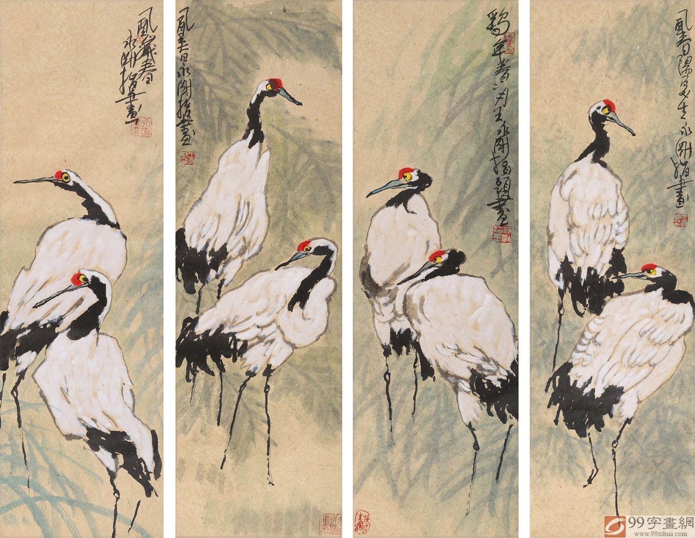 四条屏手指画《松鹤延年》