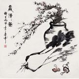 【已售】张春奇四尺斗方《双清图》徐悲鸿纪念馆艺术中心理事