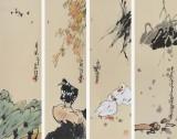 国家一级美术师王永刚 手指画《花鸟四条屏》(询价)